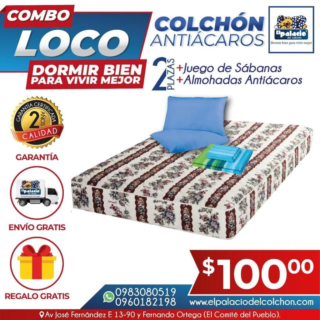 ((*PROMOCIÓN*)) Colchones Antiacaros 2 Plazas MAS Sabanas MAS Cobija MAS Garantía ((*LLAME 0983080519*)) Colchón