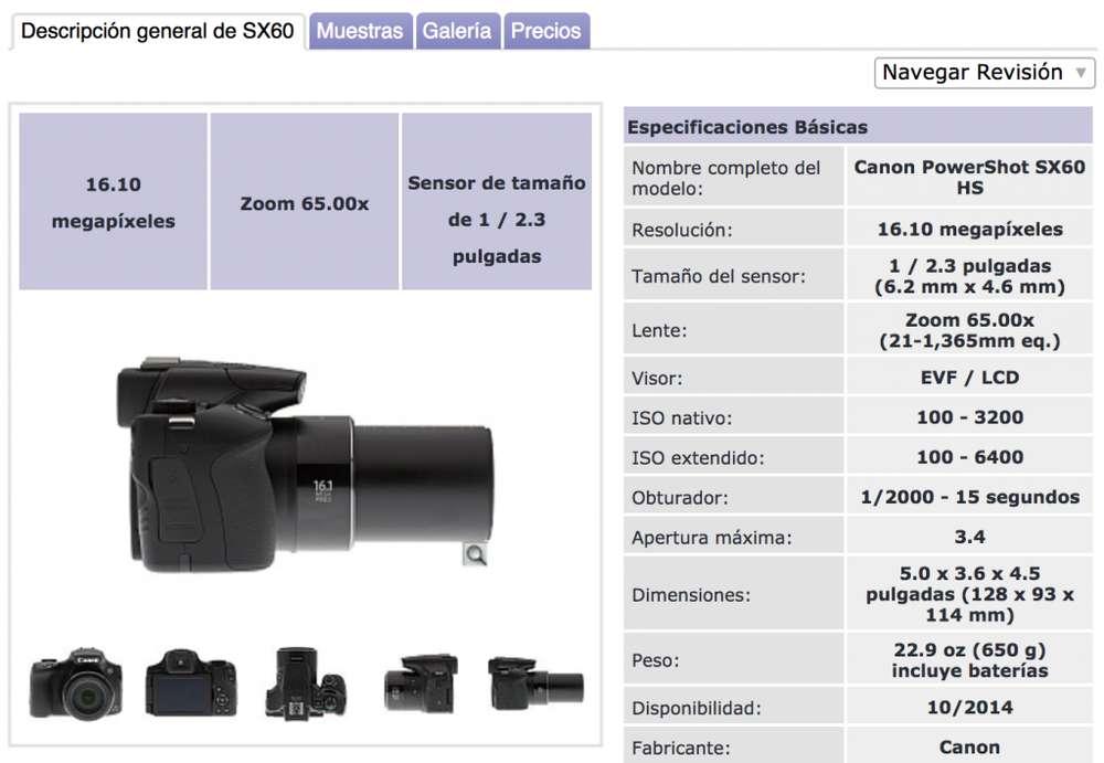Camara <strong>canon</strong> SX60 Hs Semiprofesional