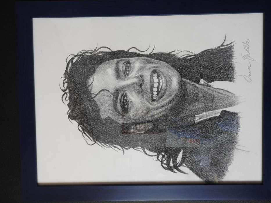 Dibujo: Lapiz sobre papel de Michael Jackson del maestro Omar Gordillo