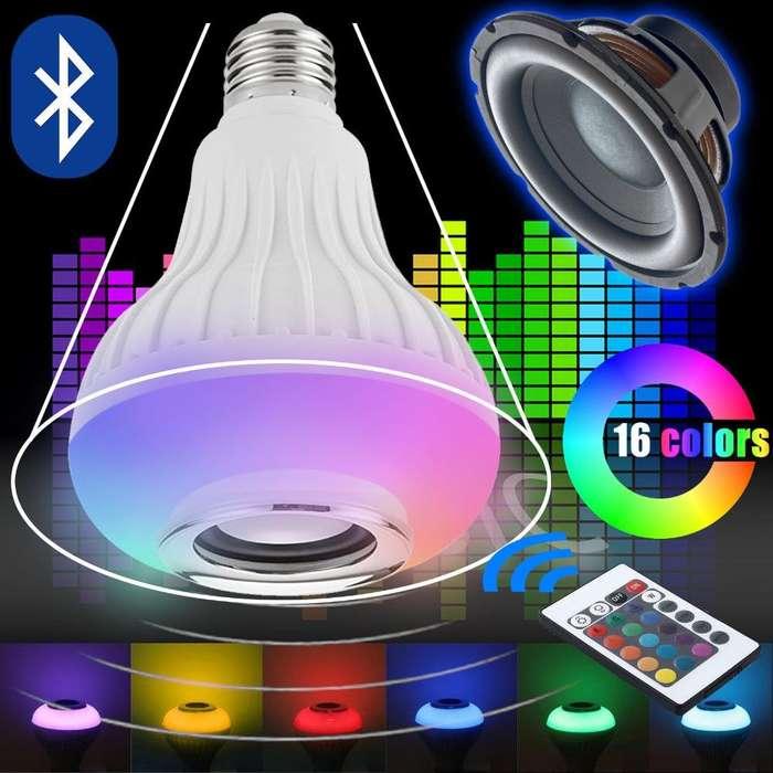 Lámpara Parlante Bluetooth Luz Full Rgb Color Control Remoto