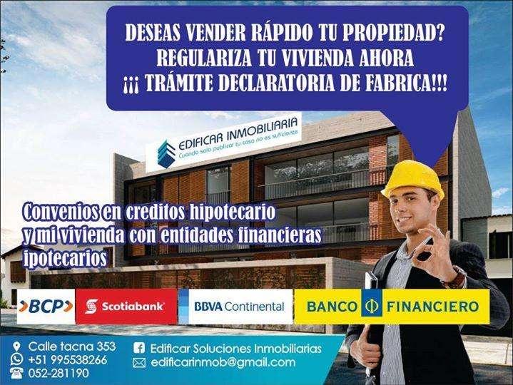!!! CON DECLARATORIA FABRICA VENDE TU CASA !!!! RAPIDO A ENTIDADES FINANCIERAS