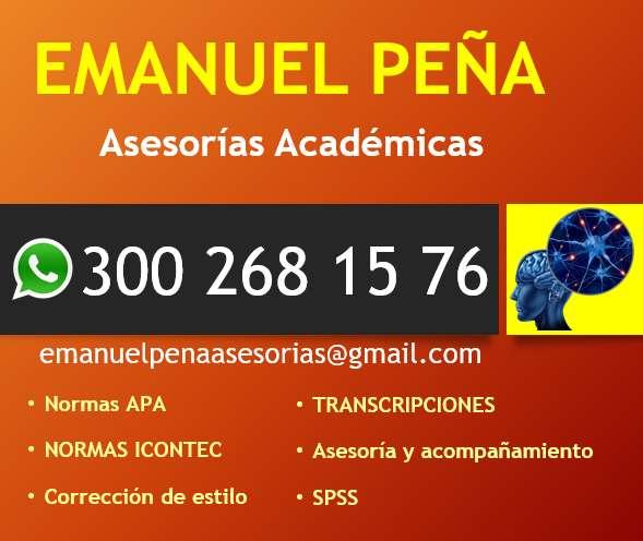 Asesorías académicas: tesis, trabajos de grado, ajuste APA, Icontec y similares, SPSS, corrección de estilo