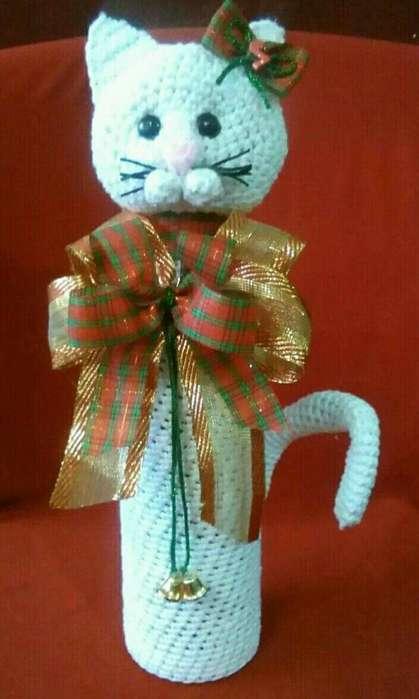 Botella Decorada de Gato Navideño