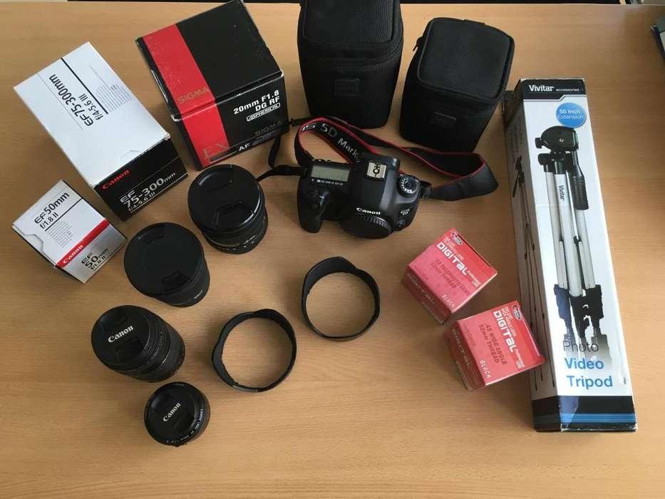 Vendo Camara Canon Eos 5d Mark Iii . Cuerpo y 4 Lentes Mochila y otros accesorios