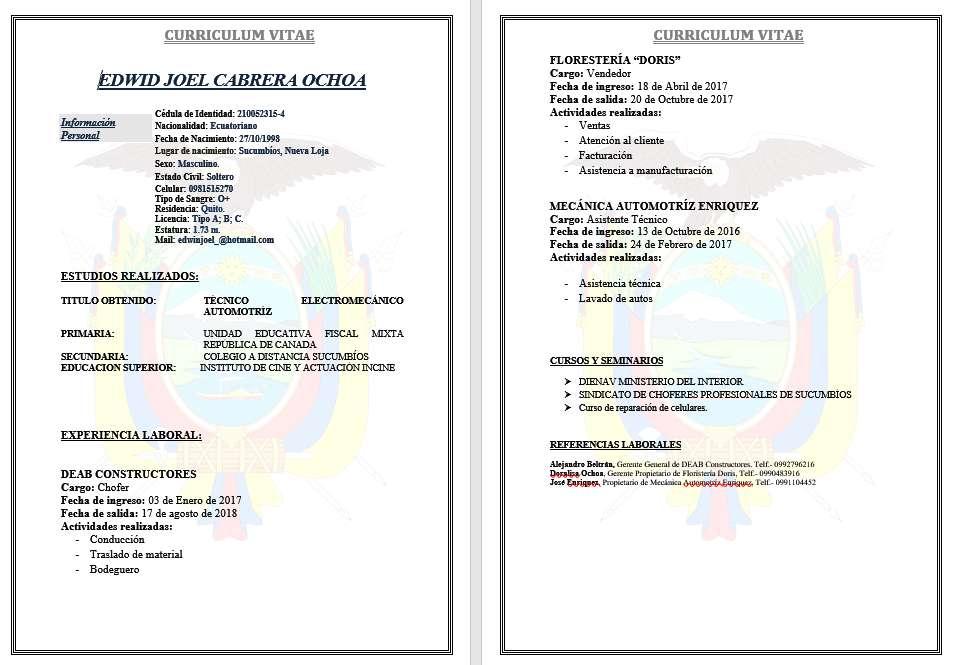 licencia tipo A, B y C guardia de seguridad Nivel 1