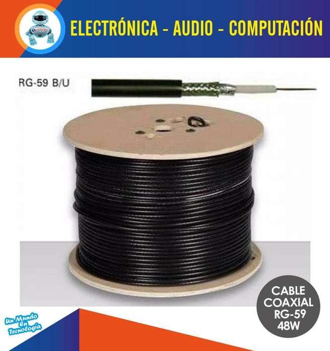 Rollo Cable Coaxial Rg59 305 Metros Negro 48w Nuevo