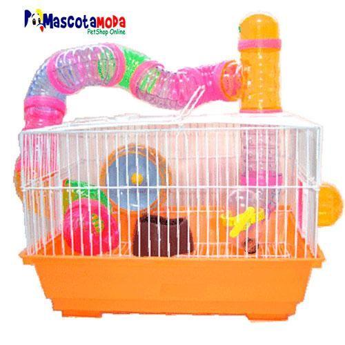Jaula con tubos y accesorios para hamster mucha diversion