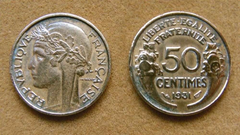 Moneda de 50 céntimos Francia 1931