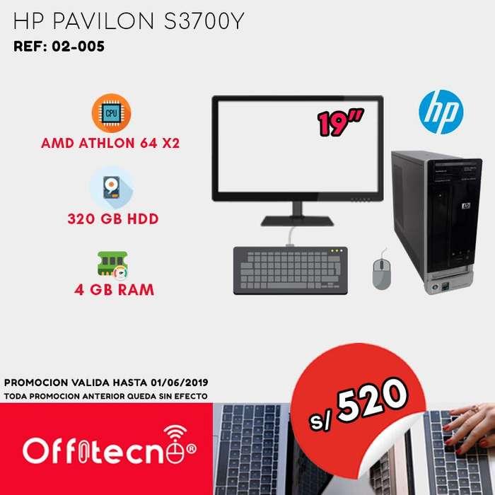 COMPUTADORA COMPLETA, HP PAVILON S3700Y, AMD ATHLON 64 X2, 4 GB RAM, 320 GB