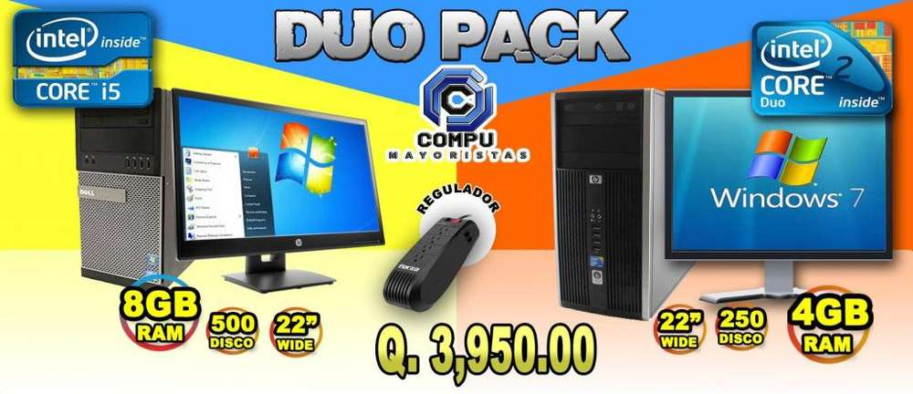 INCREIBLE DUO PACK! DELL CORE I5 8GB RAM 500GB HDD Y DESKTOP HP CORE2 DUO 4GB RAM MONITOR 22'' PULGS POR SOLO Q3,950.00