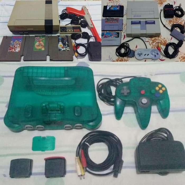 Consola Videojuegos Nintendo Super Nes Snes y Juegos N64 Green