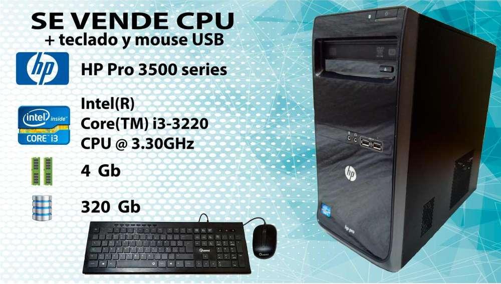 CPU Hp Pro 3500 Intel Core i3 4gbRam 320gb Teclado y Mouse