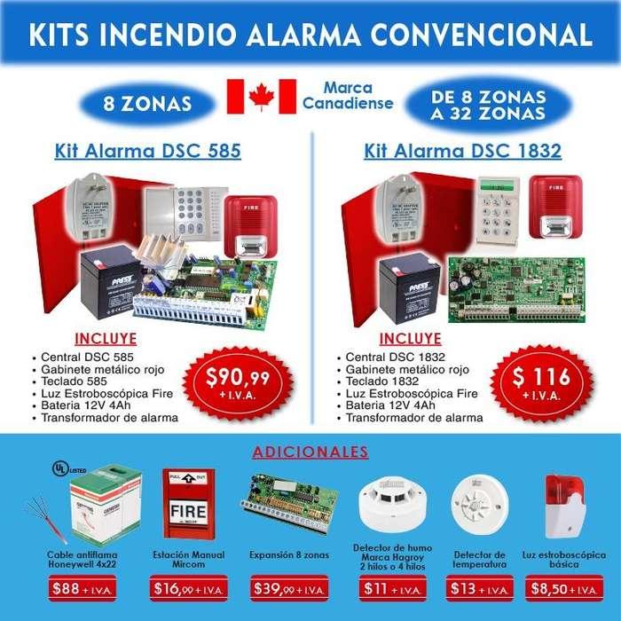 sistemas contra incendios / extintores / detector de humo /central dsc