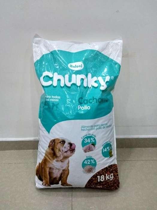 Alimento chunky x 18 kg cachorro incluye domicilio