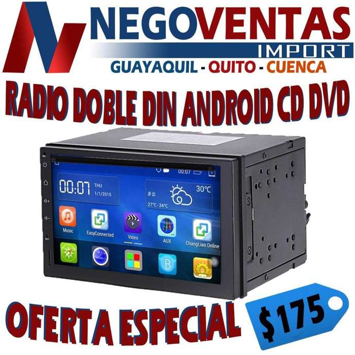 RADIO DOBLE DIN ANDROID LECTOR Y REPRODUCTOR DE CD DVD USB SD AUX PANTALLA DE 7 PULG