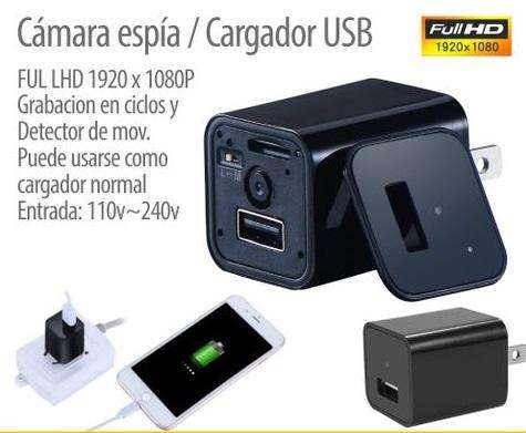 Camara oculta HD 1080P Cargador USB Cámara de Seguridad Indetectable