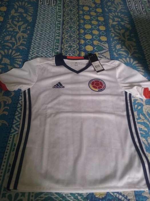 Camiseta futbol niño original seleccion colombia blanca