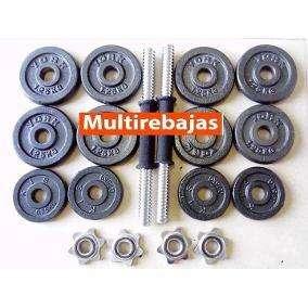 gym kit completo de pesas de 44 lb 12 ruedas de hierro 2 barras y 4 ruedas cromadas