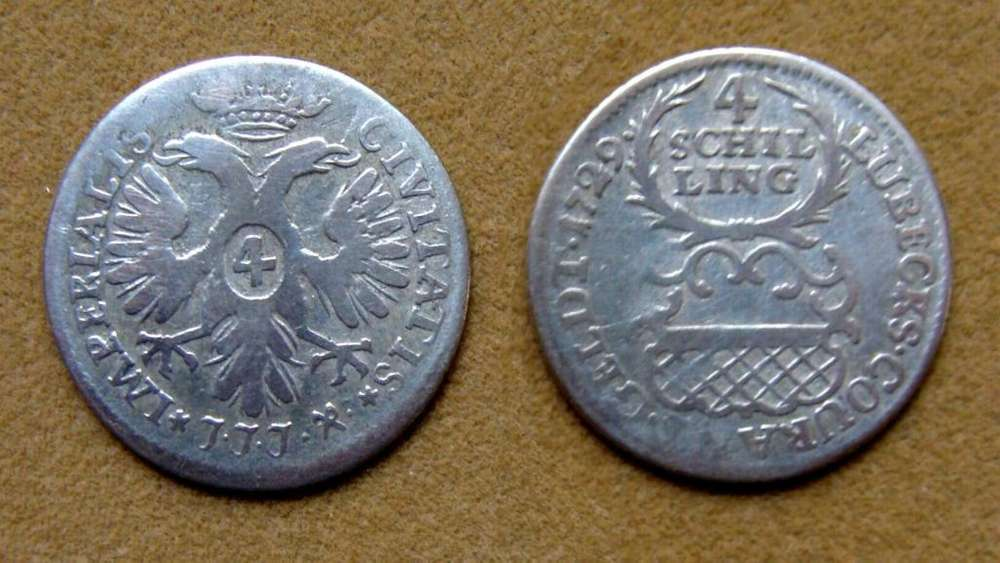 Moneda de 4 chelines de plata Lübeck, Alemania 1729