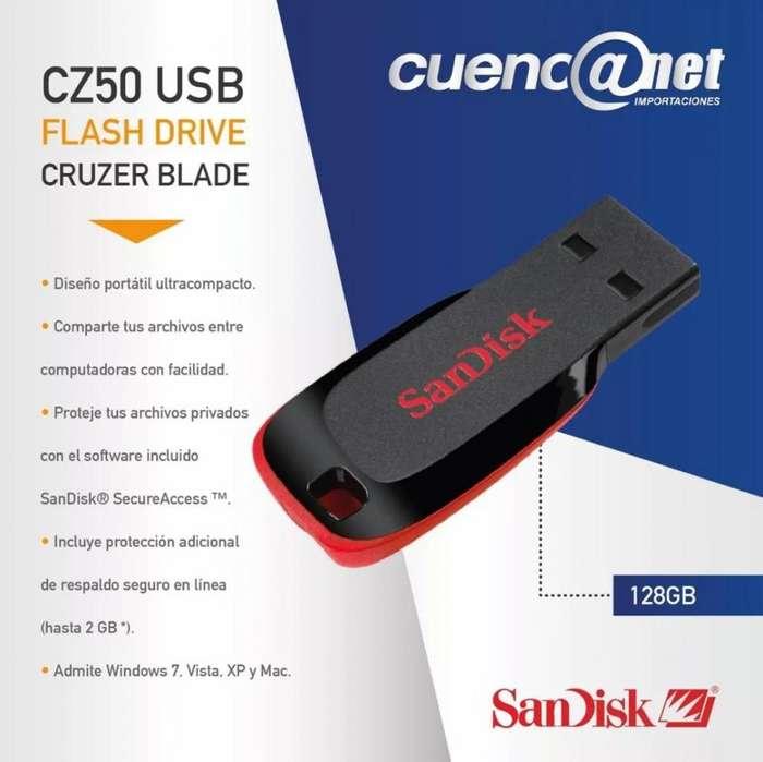 Flash Memory Cruzer Blade Cz50 128gb Sandisk