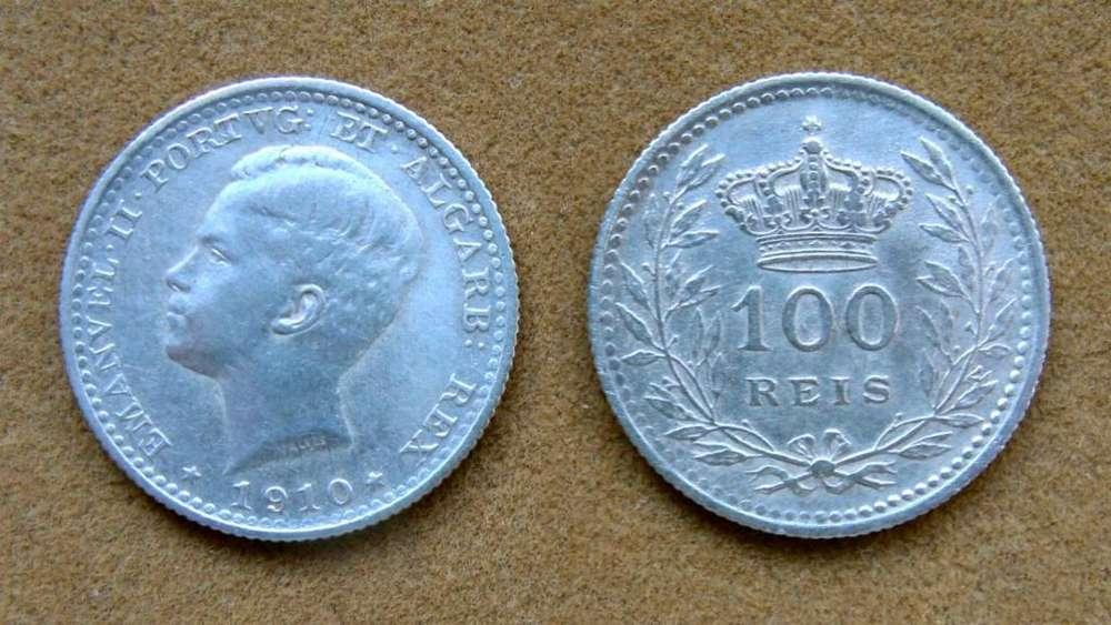 Moneda de 100 reis de plata, Portugal 1910