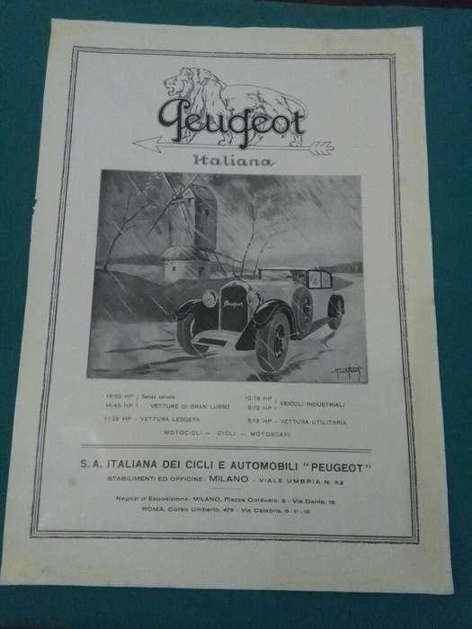 ANTIGUA PUBLICIDAD PEUGEOT AUTOMOVILES Y BICICLETAS ITALIA 1927 . HOJA SUELTA ORIGINAL DE REVISTA DE EPOCA