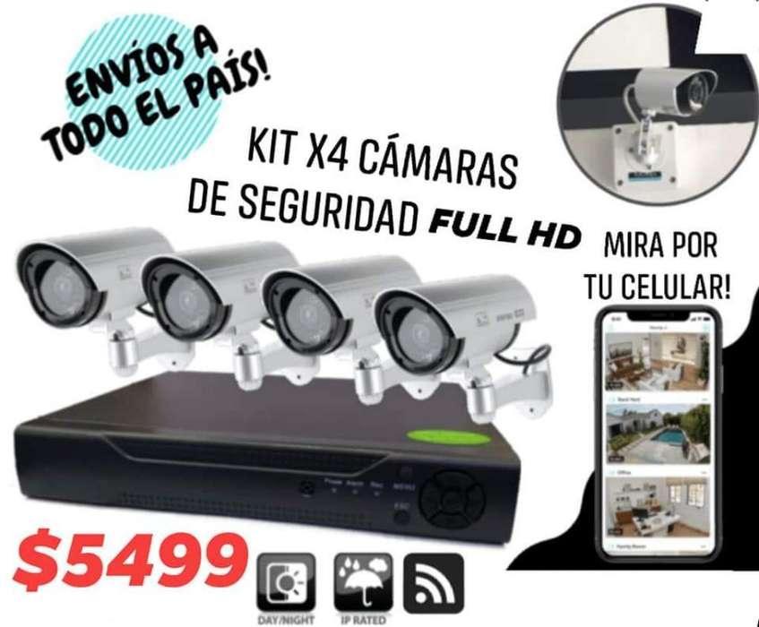 Kit X4 Cámaras de Seguridad Full Hd