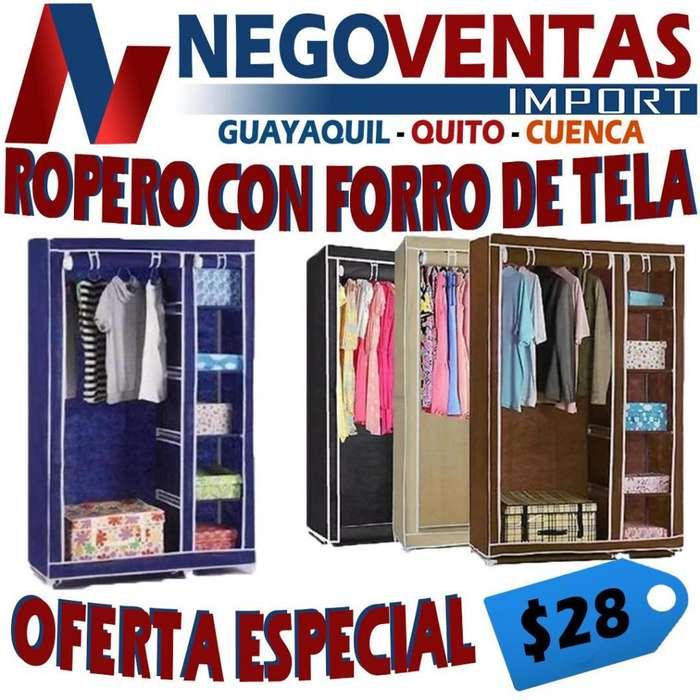 ROPERO ESTRUCTURA METALICA CON FORRO DE TELA VARIOS COLORES 175X105 CM
