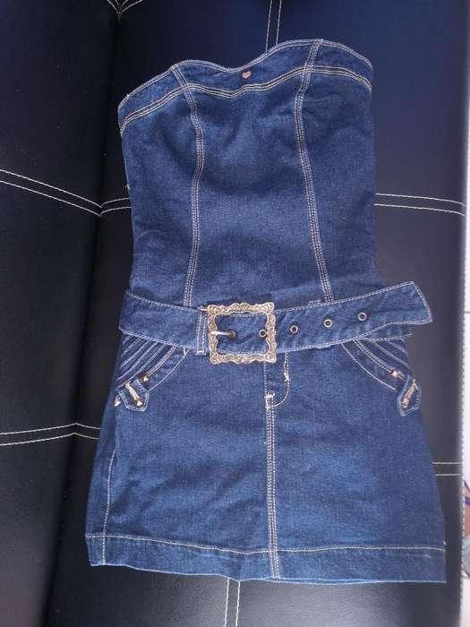 Vestido Jean Grueso Talla 28 Pequeña