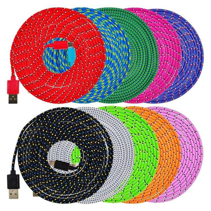 Cable Carga Datos Android Micro USB 2.0 Nylon 1mt Colorful2