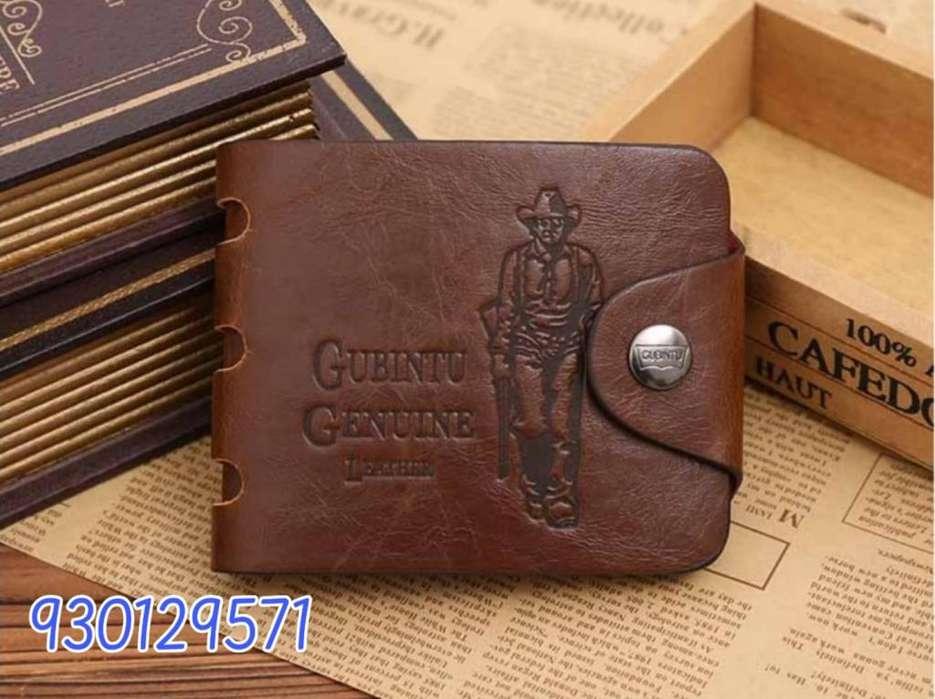 Billetera para hombre color café cuero sintético PU importado marca GUBINTU vaquero y 001