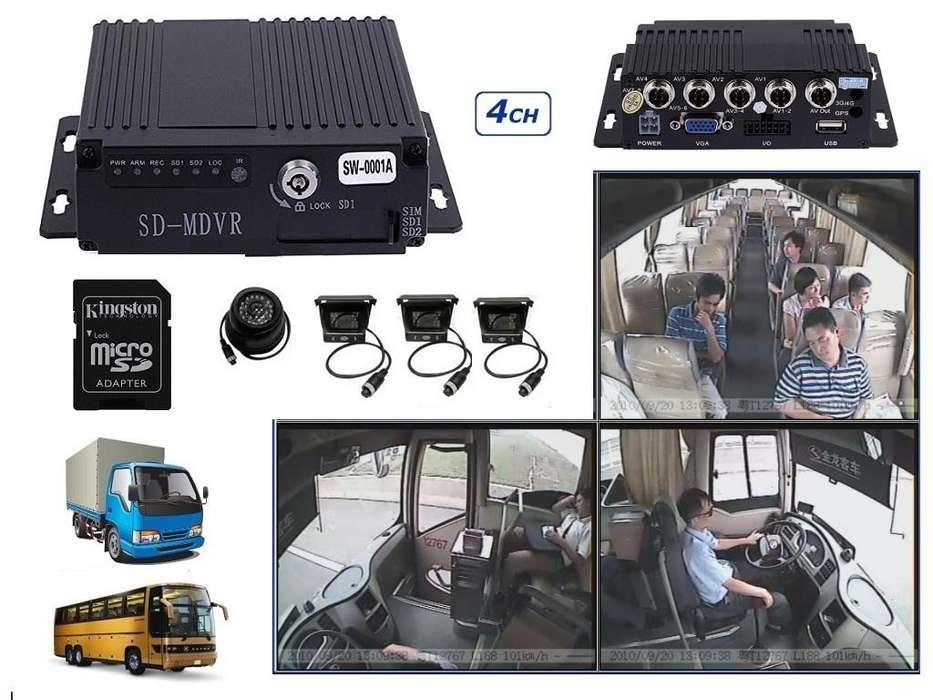 Dvr Movil Grabador Vehicular AHd 4 Camaras 256gb Cable M12