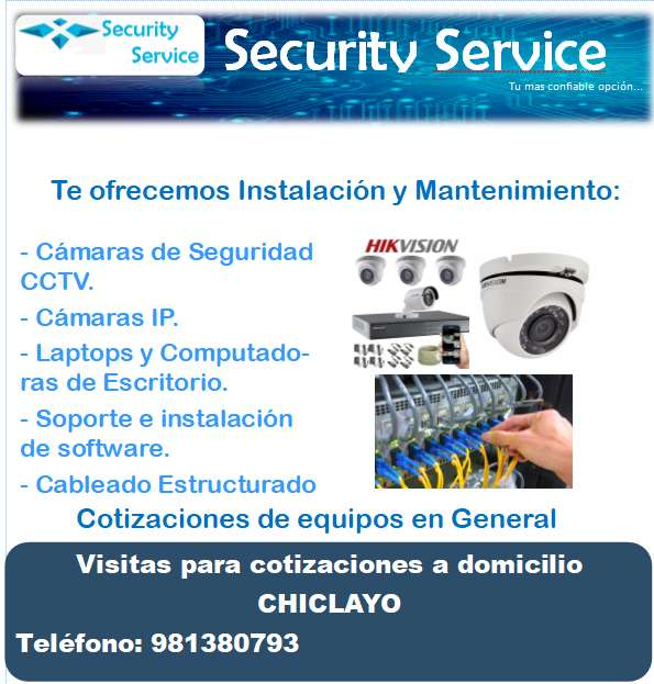 Instalacion de Camaras de Seguridad CCTV, IP, Video Portero, Intercomunicador, Electricidad Domiciliaria.