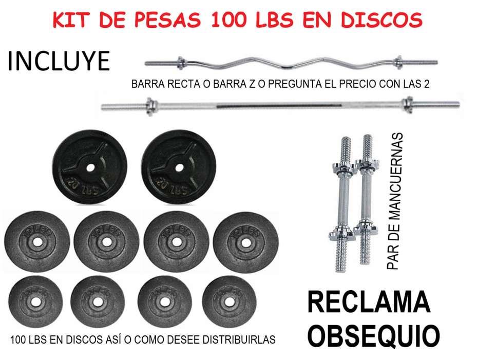 COMPLETO Kit de Pesas Obsequio: 1 Barra Recta, 2 Barra Mancuernas, 100 Lbs de Peso en Discos Totalmente Nuevos