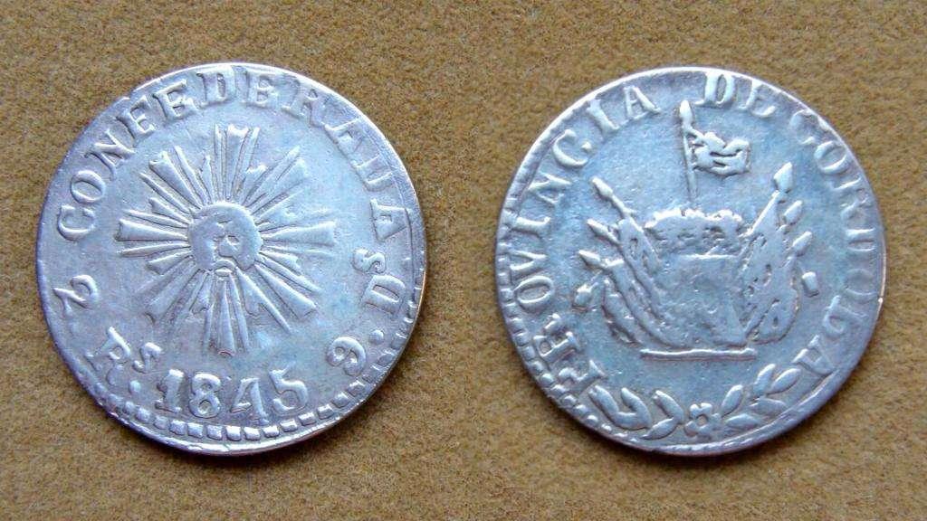 Moneda de 2 de reales de plata Pcia. de Córdoba, Argentina 1845