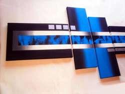 Cuadros pintados a mano no son impresiones modernos abstractos minimalistas con texturas en color azul