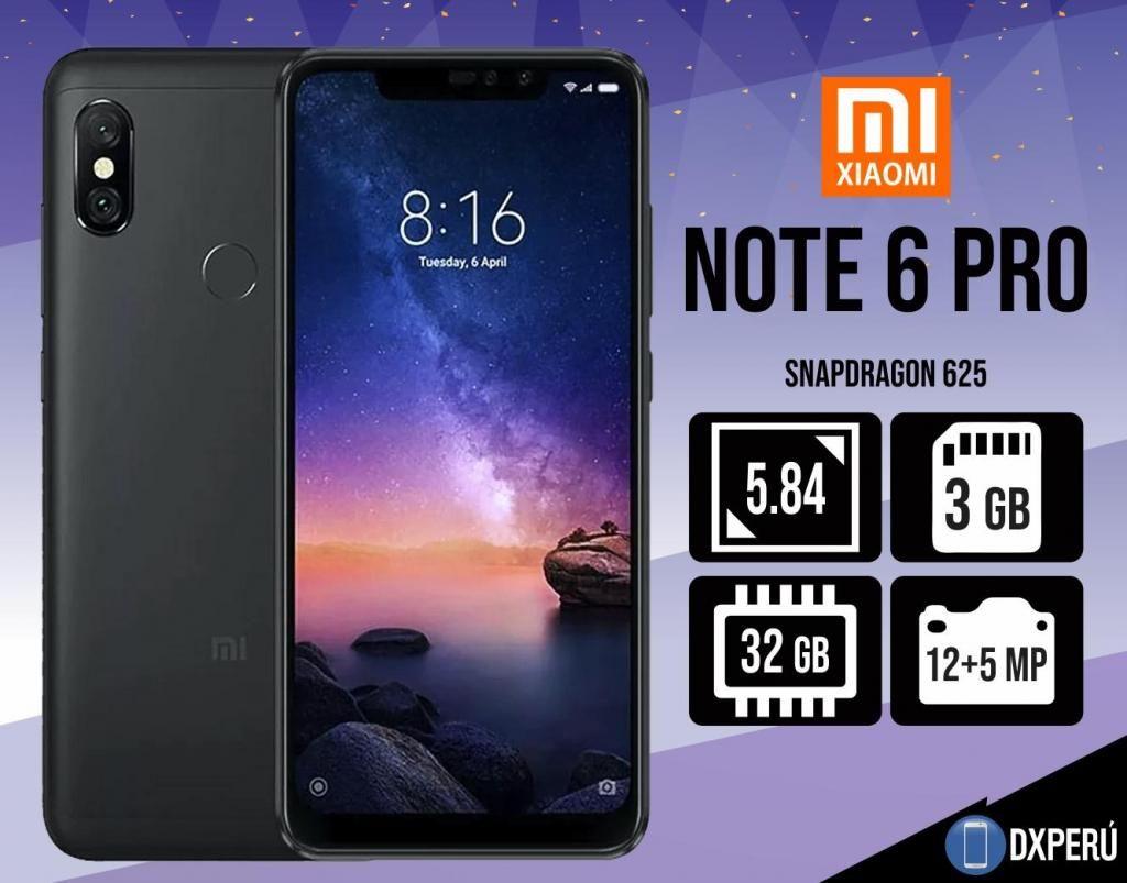 Xiaomi Note 6 Pro 32 gb 3gb Sellado / Nuevo / Colores / Tienda EquiposLibres.PE