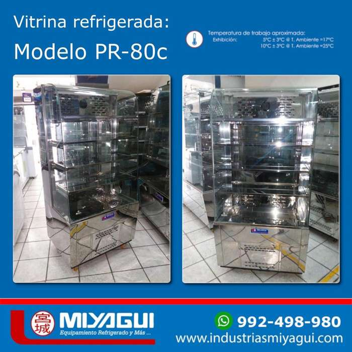 Vitrina exnibidora refrigerada Miyagui PR-80c de 80cm de ancho NUEVA conservadora