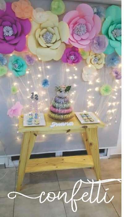 Candy Bar. Ambientaciones. Alquiler mesas y mobiliario de fiestas