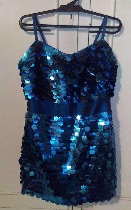 Vestido de fiesta lentejuelas azul