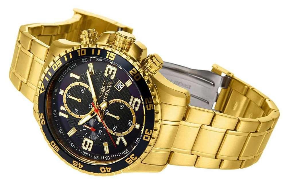 Reloj Invicta Specialty dorado. Relojes hombre casual, elegante, oro.