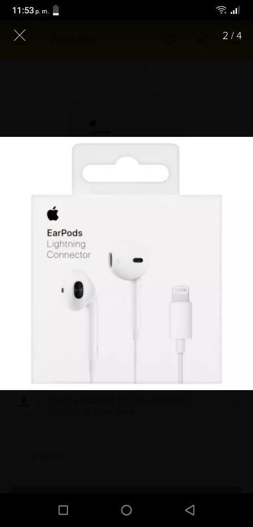 55bb6a8d3af Audífonos Earpods Lightning Apple Original iPhone 7 8 Plus X - Lima