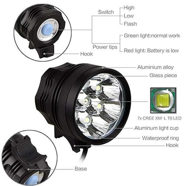 Linterna para bicicleta, 10500 lúmenes, 7 luces LED, impermeable, con batería recargable de 9600 mAh