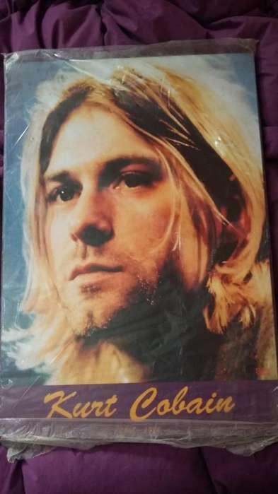Poster de Kurt Cobain Nirvana en bastidor de madera