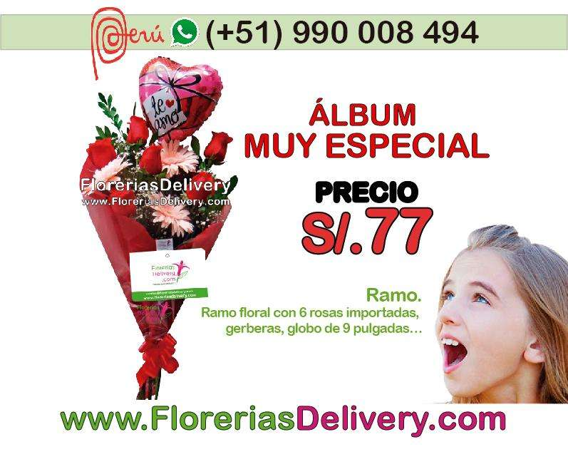 Ramo floral con 6 rosas importadas, gerberas, globo de 9 pulgadas Código: Olx M R.A.-0005