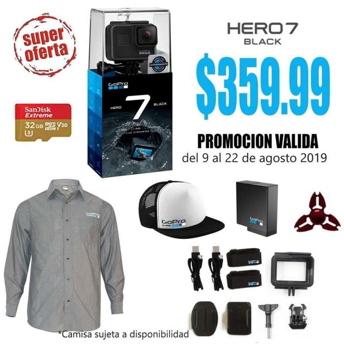 SUPER PROMO CAMARA GOPRO HERO7 BLACK MEMORIA 32GB