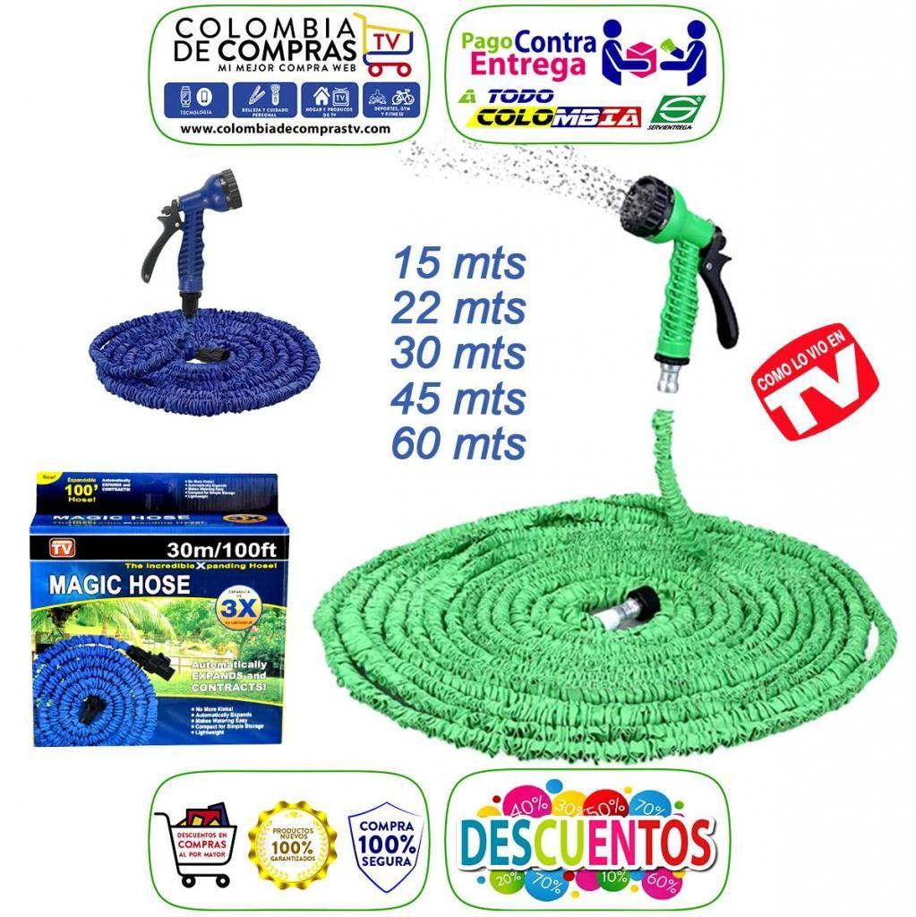 Manguera Tv Expandible a 15, 22, 30, 45 o 60 Mts Con Pistola De Riego, Verde o Azul, Nuevas, Originales, Garantizadas