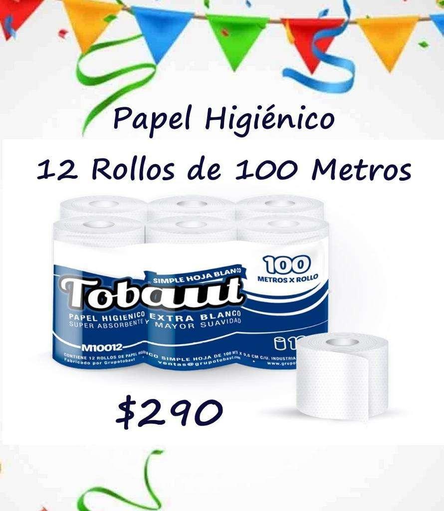 Papel Higiénico. 12 Rollos de 100 Metros