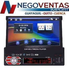 RADIO RETRACTIL MP5 PARA CARRO REPRODUCE VIDEO PANTALLA DE 7 PULG OPCION CAMARA DE RETRO USB SD DVD FM AUX BT