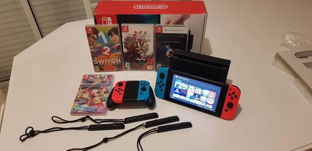 Nintendo Switch Neon - 64GB Juegos Fisicos y Digitales 2 Joycons Extras